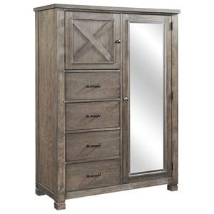Chiffarobe with 2 Adjustable Shelves and Door Mirror