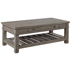 1 Drawer Cocktail Table with Slotted Shelf