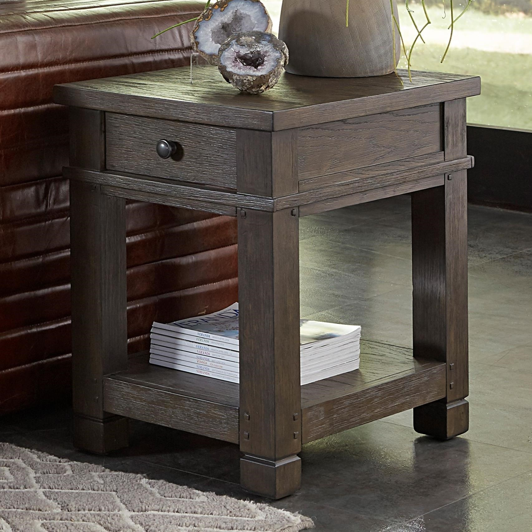 1 Drawer Chairside Table with Open Shelf