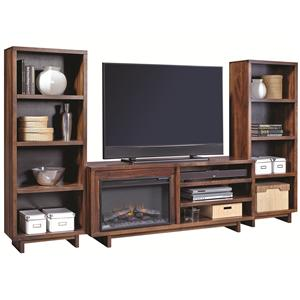 """Aspenhome Walnut Heights 65"""" Fireplace Console with Piers"""
