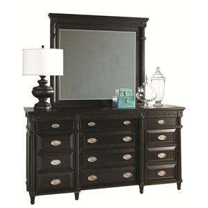 Aspenhome Young Classics Triple Front 12-Drawer Master Dresser & Beveled Glass Landscape Mirror Set