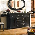 Aspenhome Young Classics Traditionally Carved Server and Bar with Removable Flatware Storage Tray, Outlet and Pullout Trays