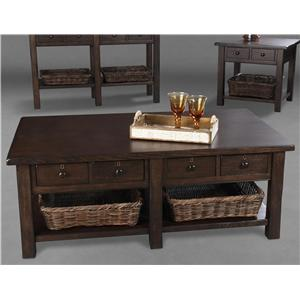 Belfort Home Providence Cocktail Table with 2 Wicker Baskets