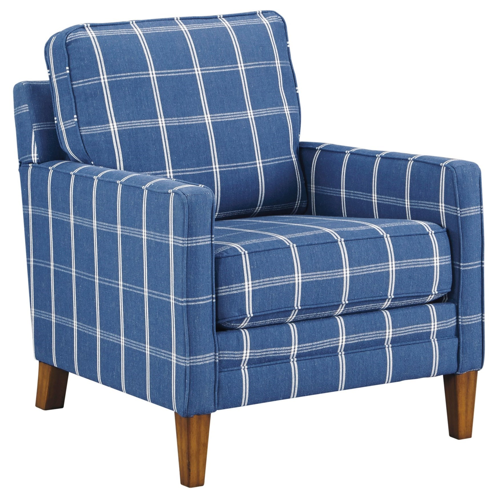 Blue Plaid Accent Chair with Track Arms by Benchcraft