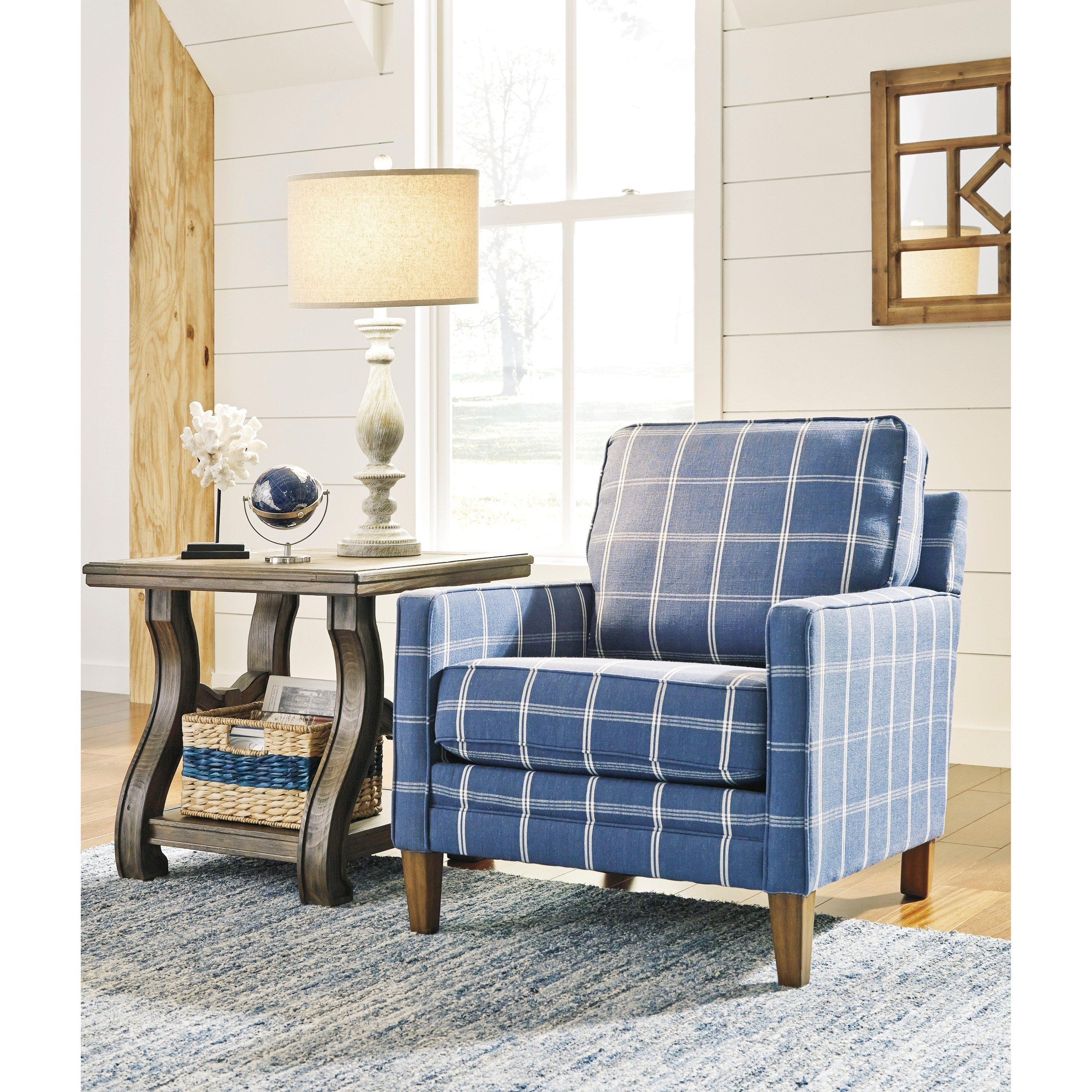 Blue Plaid Accent Chair With Track Arms