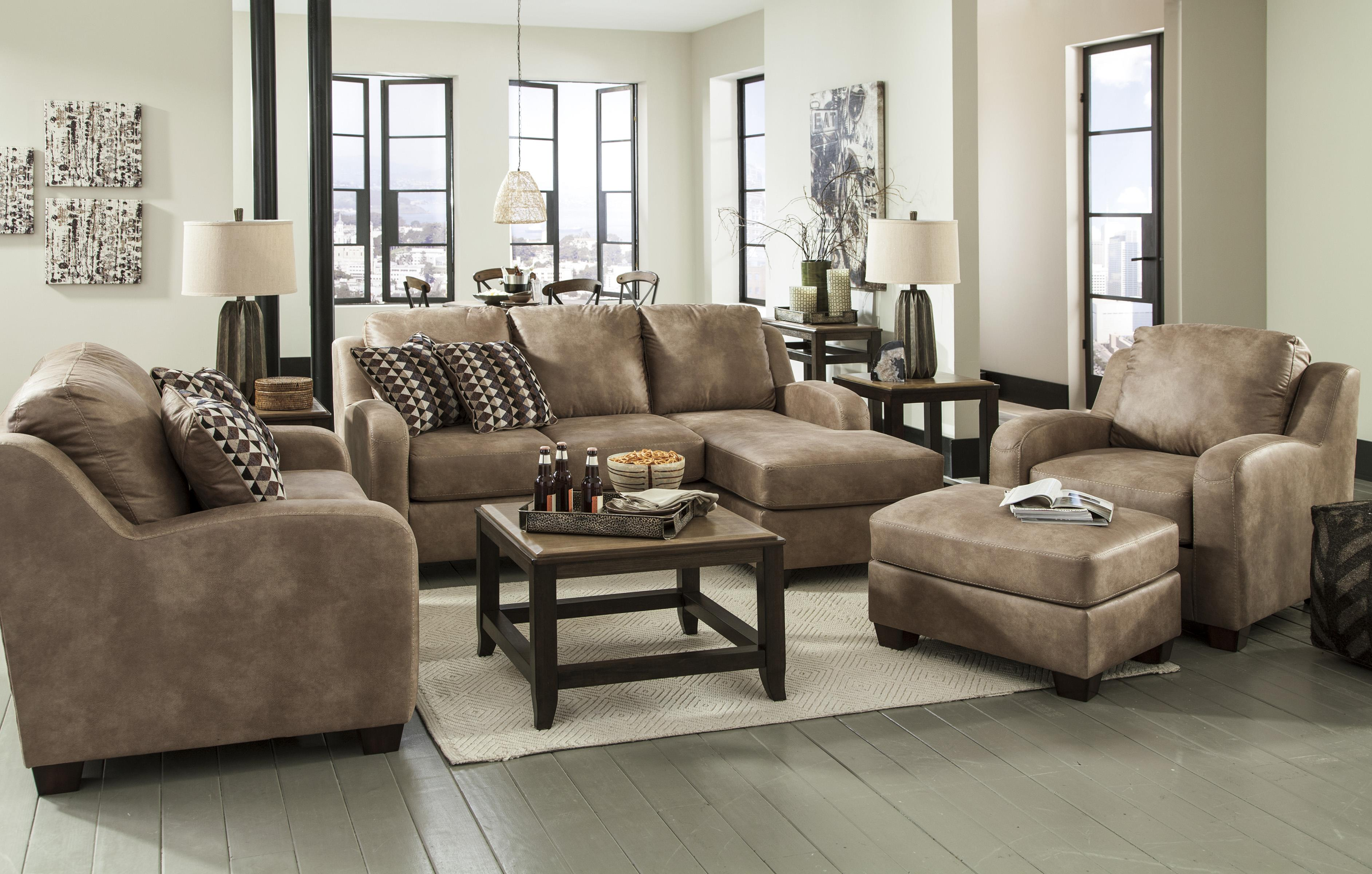 Contemporary Faux Leather Sofa Chaise by Benchcraft