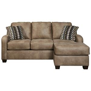 Contemporary Faux Leather Sofa Chaise