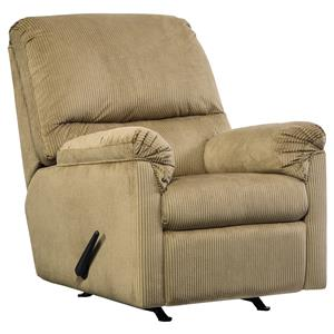 Casual Contemporary Rocker Recliner with Corded Upholstery