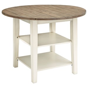 Two-Tone Round Dining Room Drop Leaf Table with Shelves