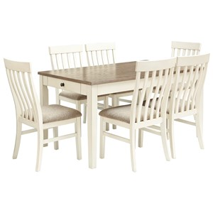 7-Piece Two-Tone Rectangular Dining Table Set
