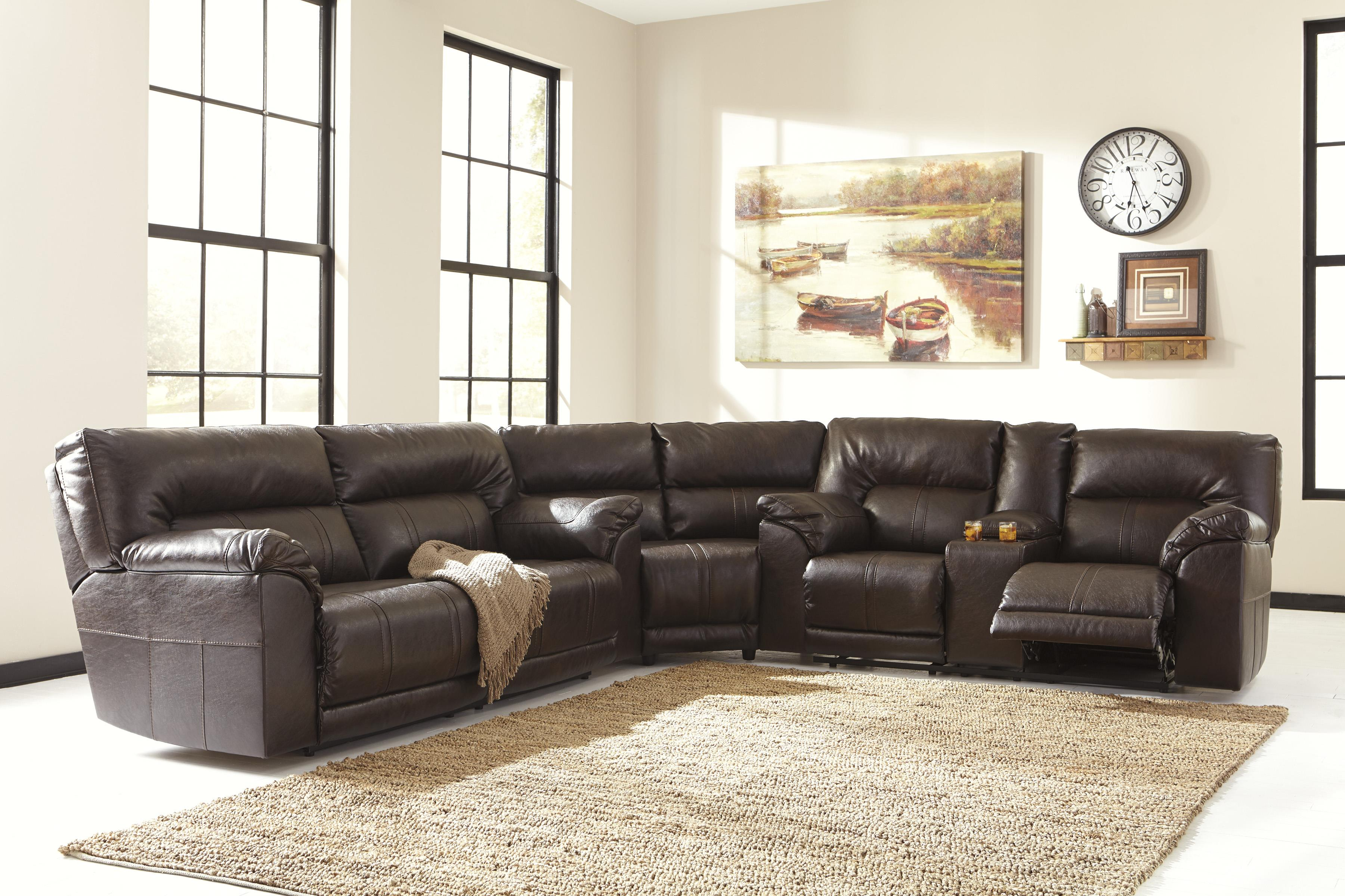 Double Reclining Loveseat W Console By Benchcraft Wolf