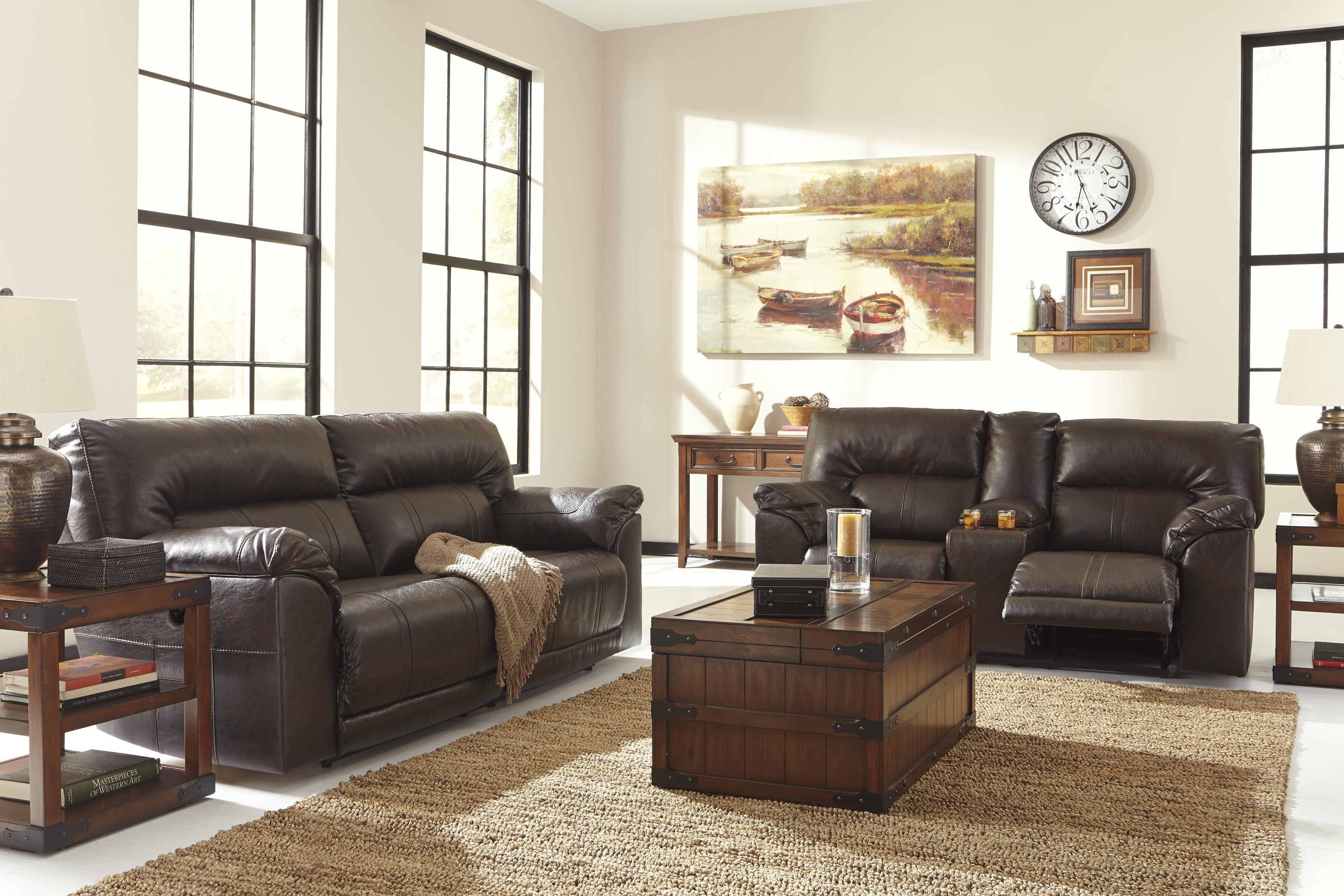 Double Reclining Power Loveseat W Console By Benchcraft