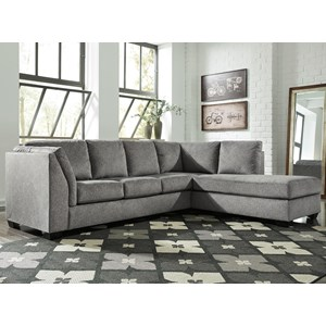 2-Piece Sectional with Right Chaise & Sleeper Sofa in Gray Fabric