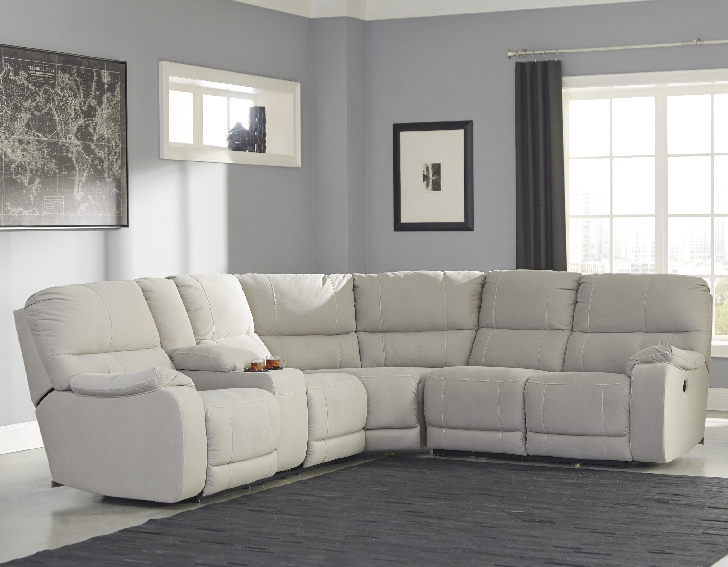 Power Reclining Sectional With Console By Benchcraft Wolf And  ~ Fabric Sectional Sofa With Power Recliner