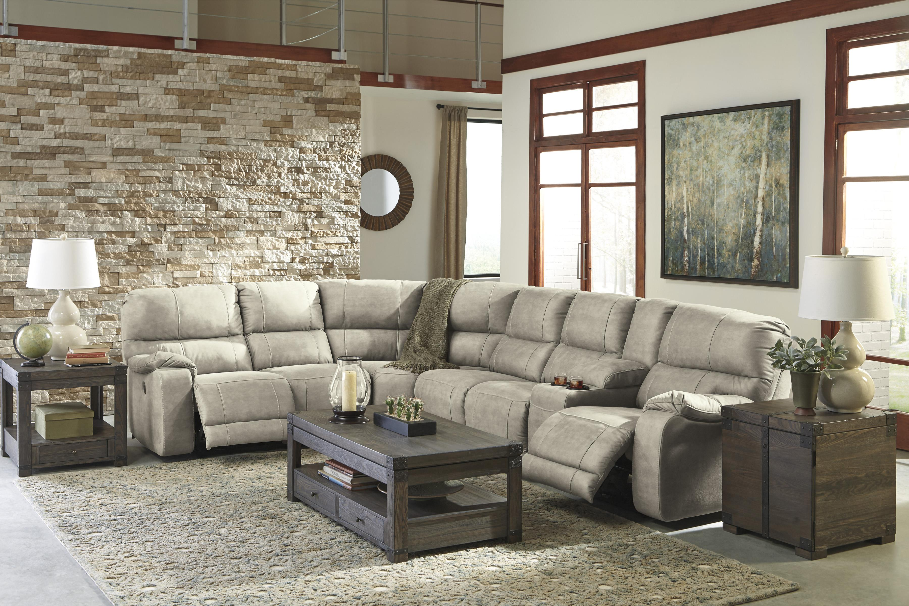 Power Reclining Sectional with Console by Benchcraft