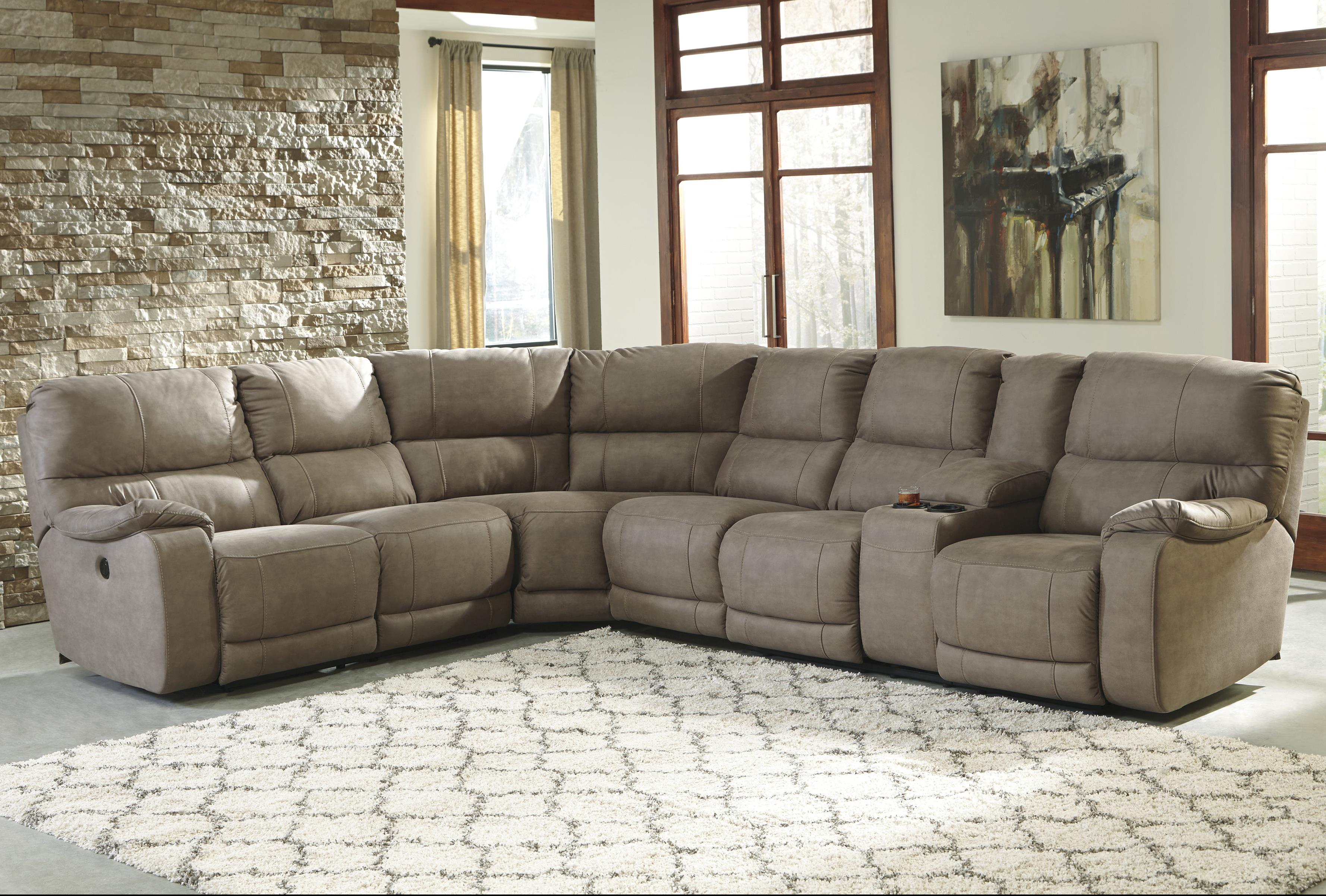 Power Reclining Sectional with Console : benchcraft sectional - Sectionals, Sofas & Couches