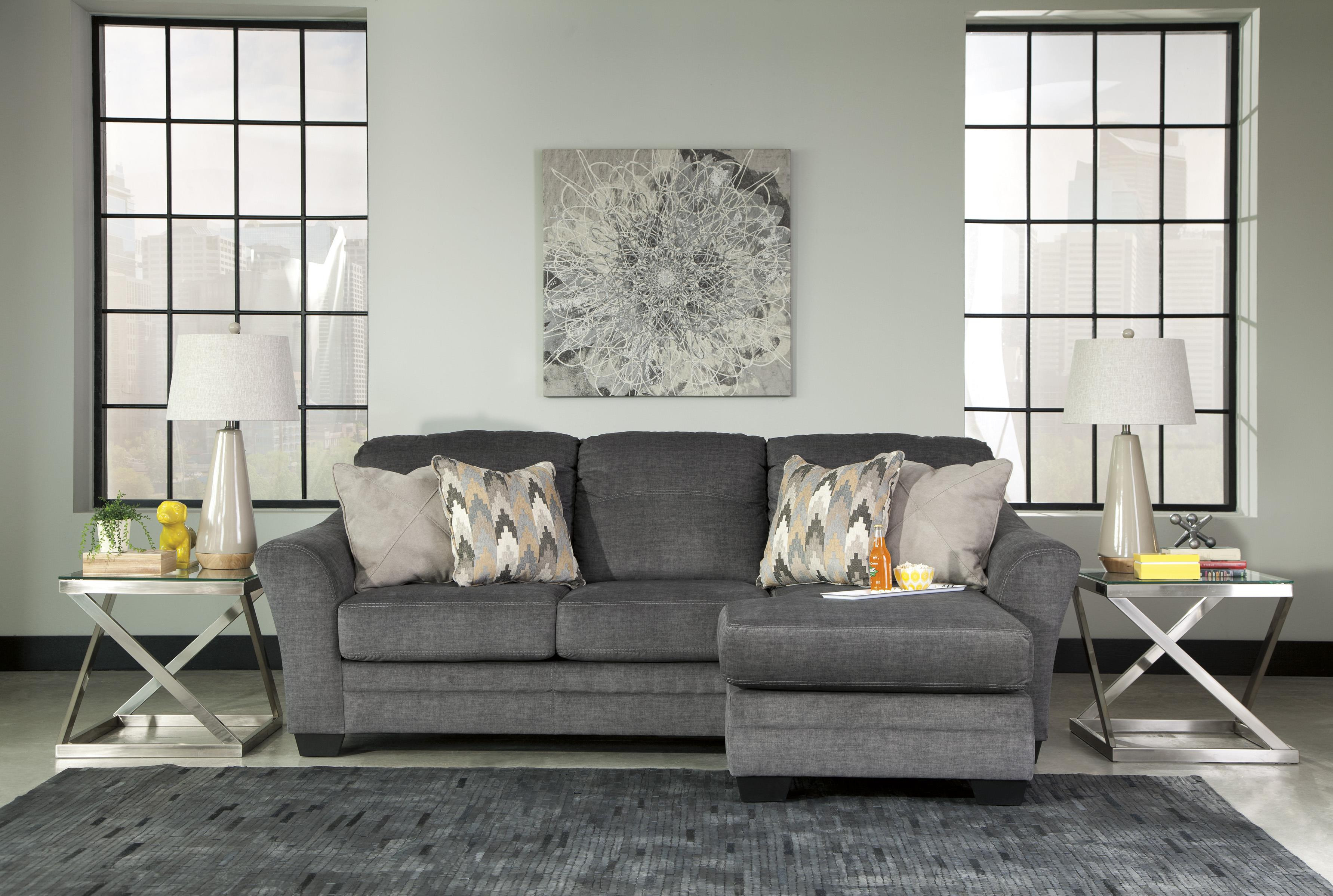 Contemporary Sofa Chaise in Gray Fabric by Benchcraft
