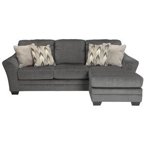Contemporary Sofa Chaise in Gray Fabric