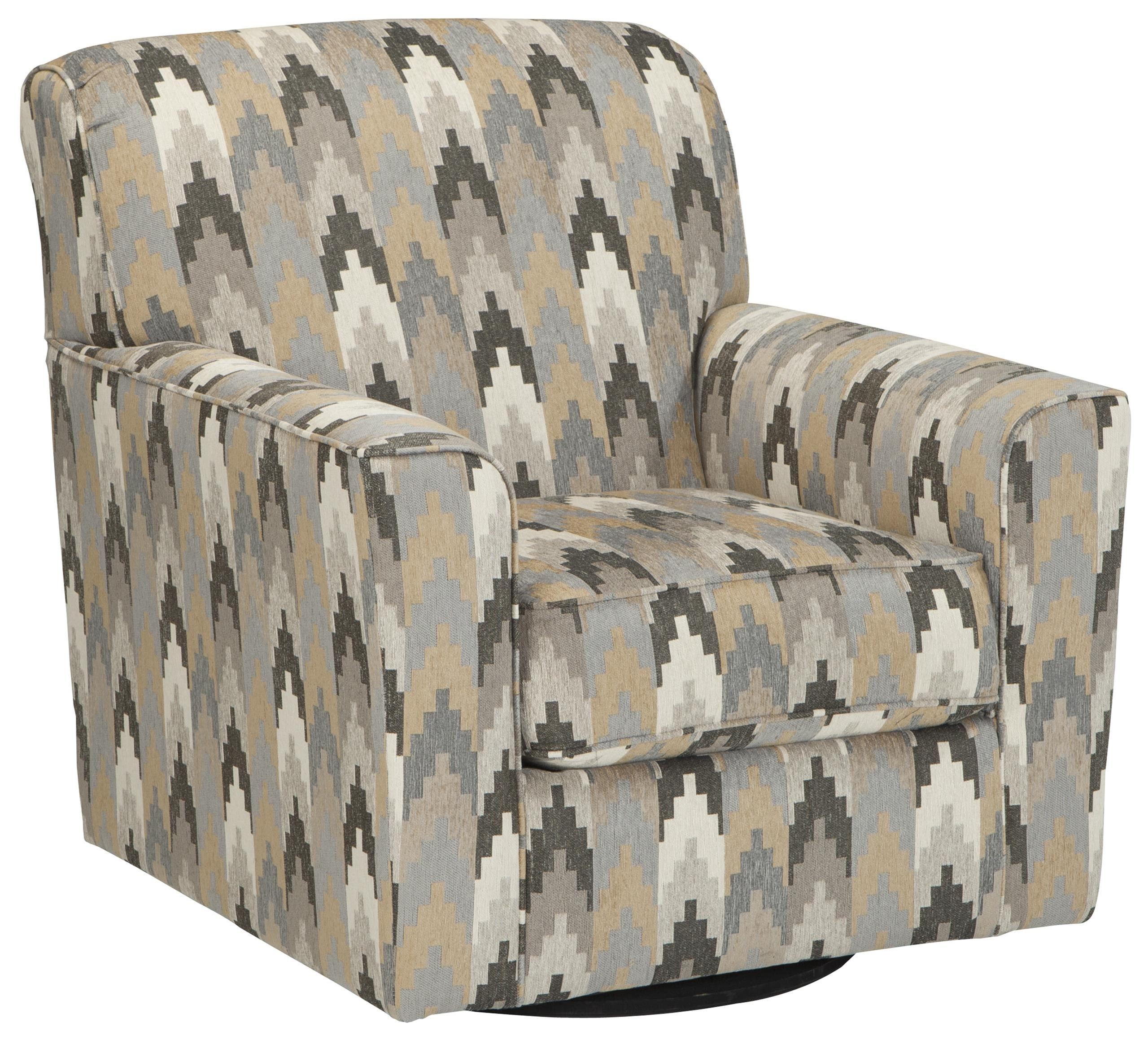 Contemporary Swivel Accent Chair In Geometric Fabric
