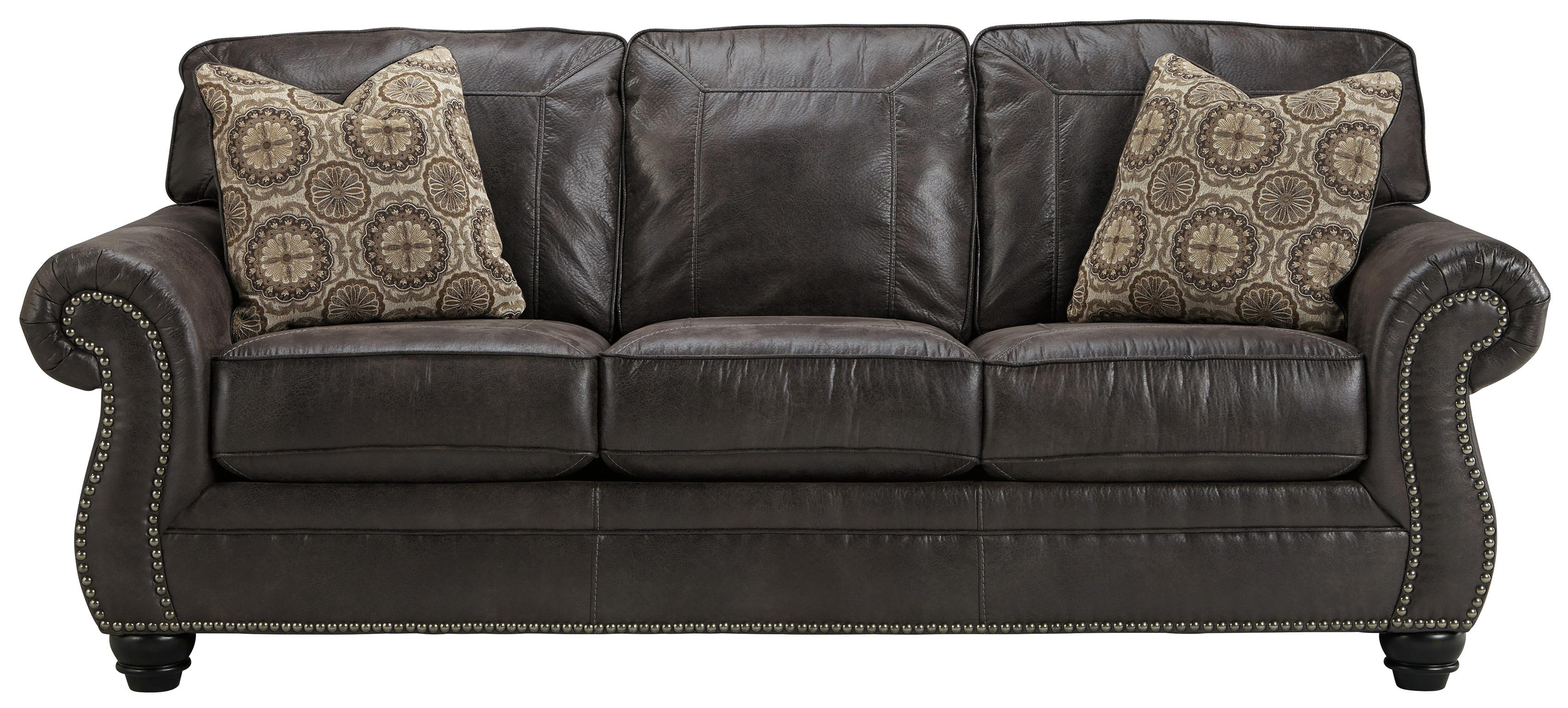 Faux Leather Queen Sofa Sleeper With Rolled Arms And Nailhead Trim  ~ Queen Sofa Sleeper Leather