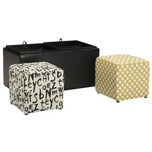Black Faux Leather Ottoman With Storage & Reversible Tray Tops