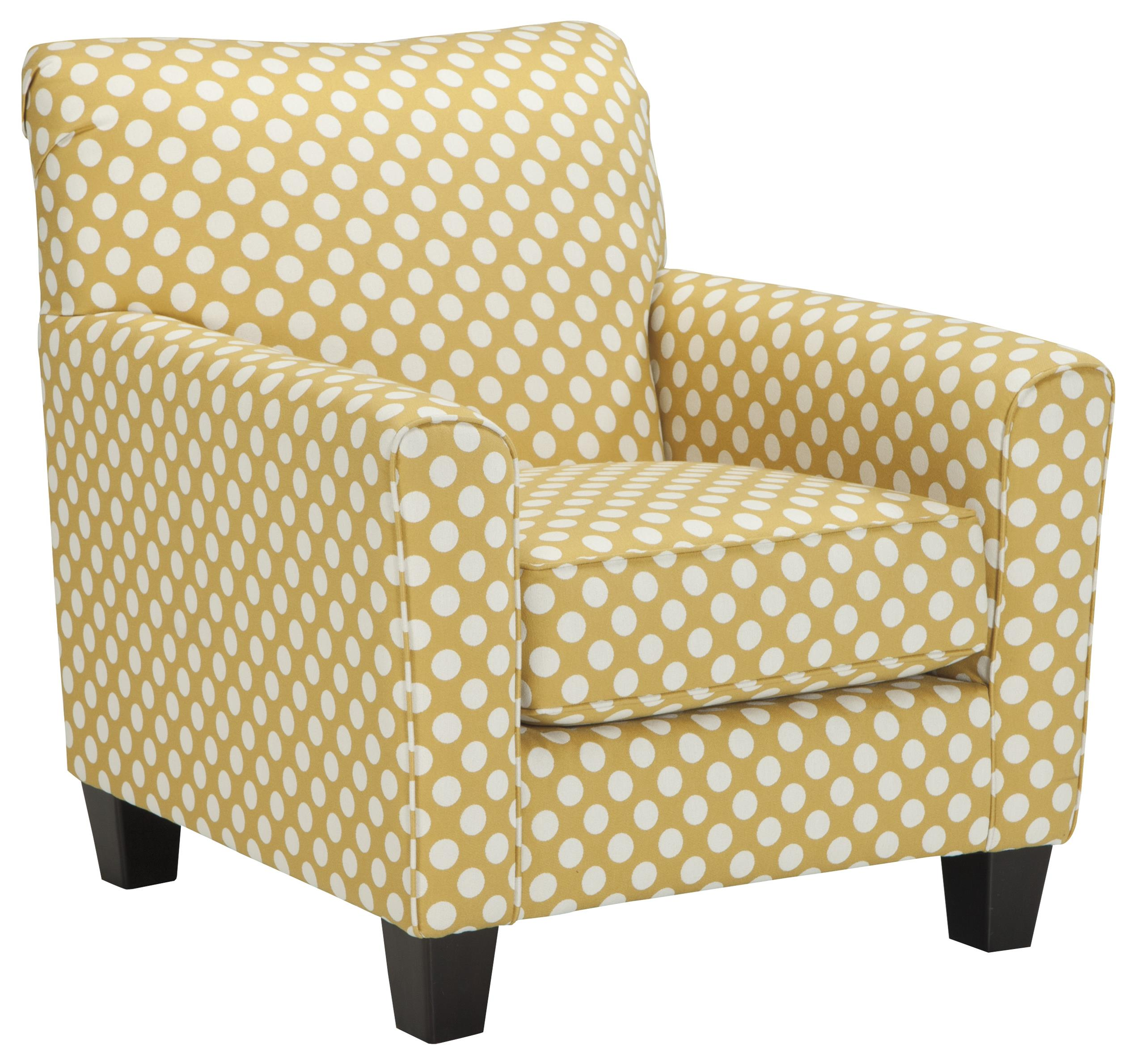 Accent Chair In Yellow Fabric With White Polka Dots