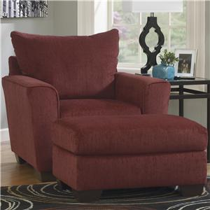 Benchcraft Brogain - Burgundy Chair & Ottoman Set