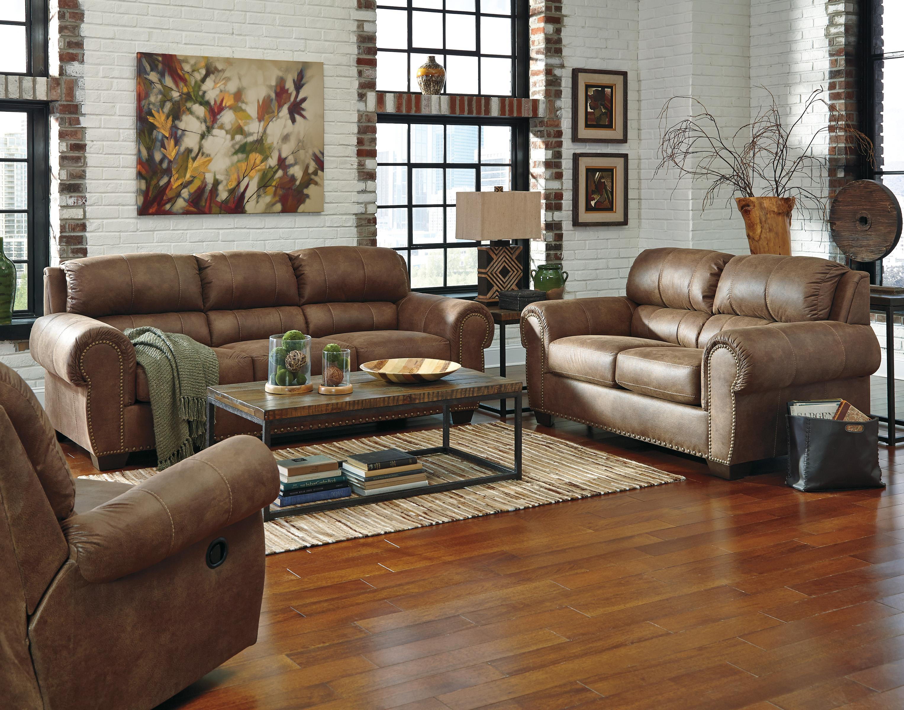 Transitional Faux Leather Sofa with Rolled Arms & Nailhead Trim by
