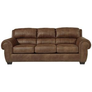 Transitional Faux Leather Sofa with Rolled Arms & Nailhead Trim