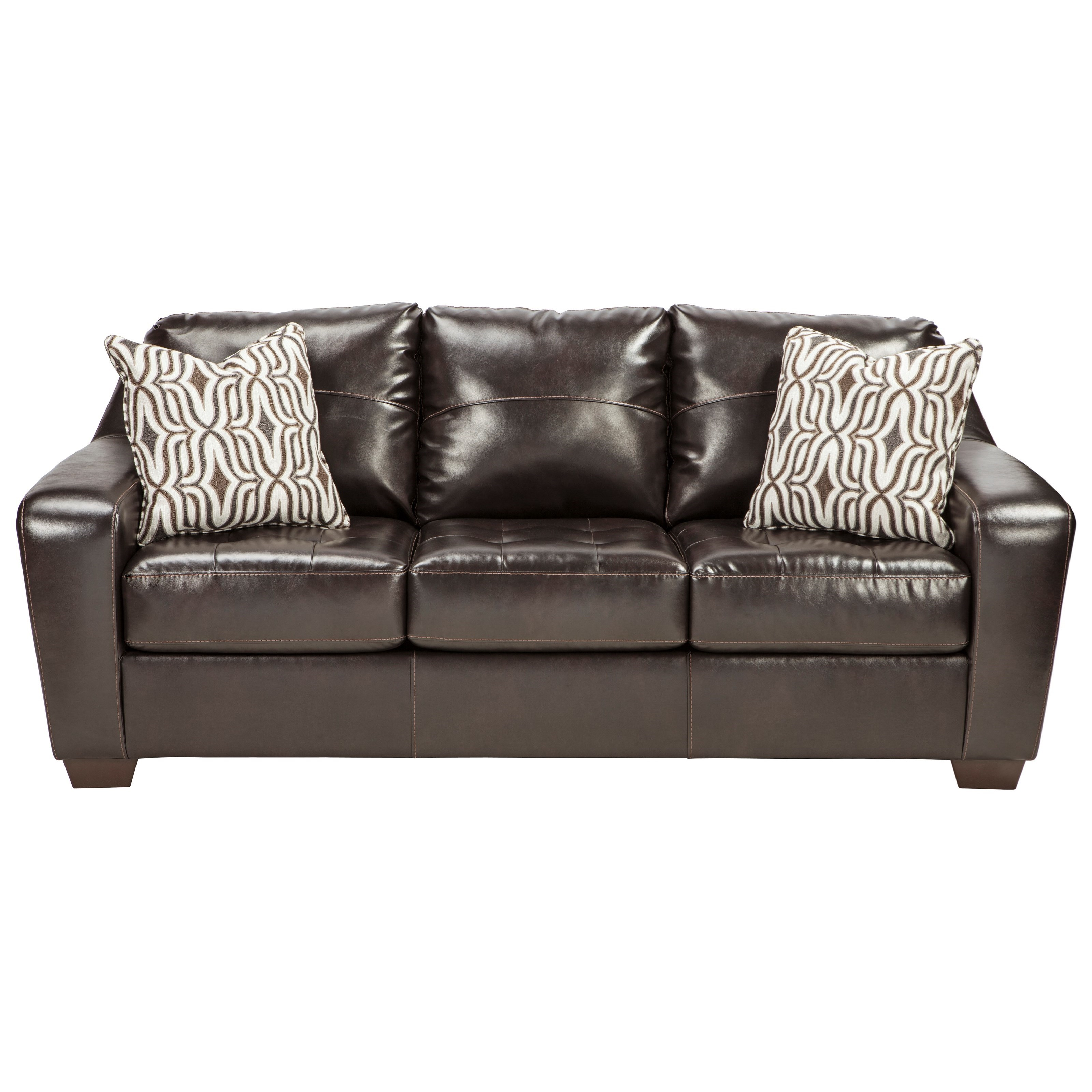Contemporary Faux Leather Sofa with Tufted Seat Cushions by