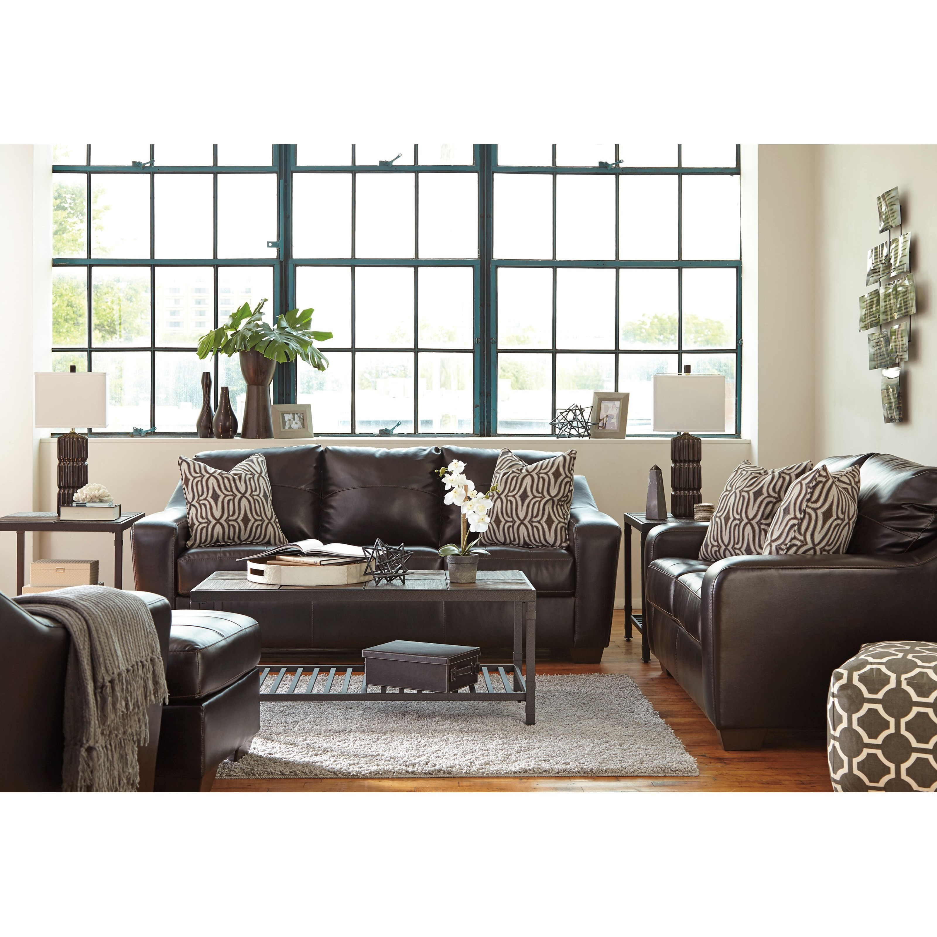 faux leather sofa with tufted seat cushions