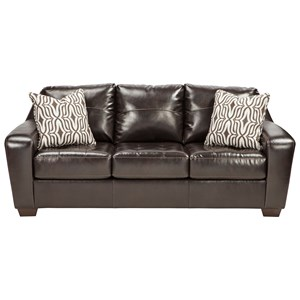 Contemporary Faux Leather Sofa with Tufted Seat Cushions