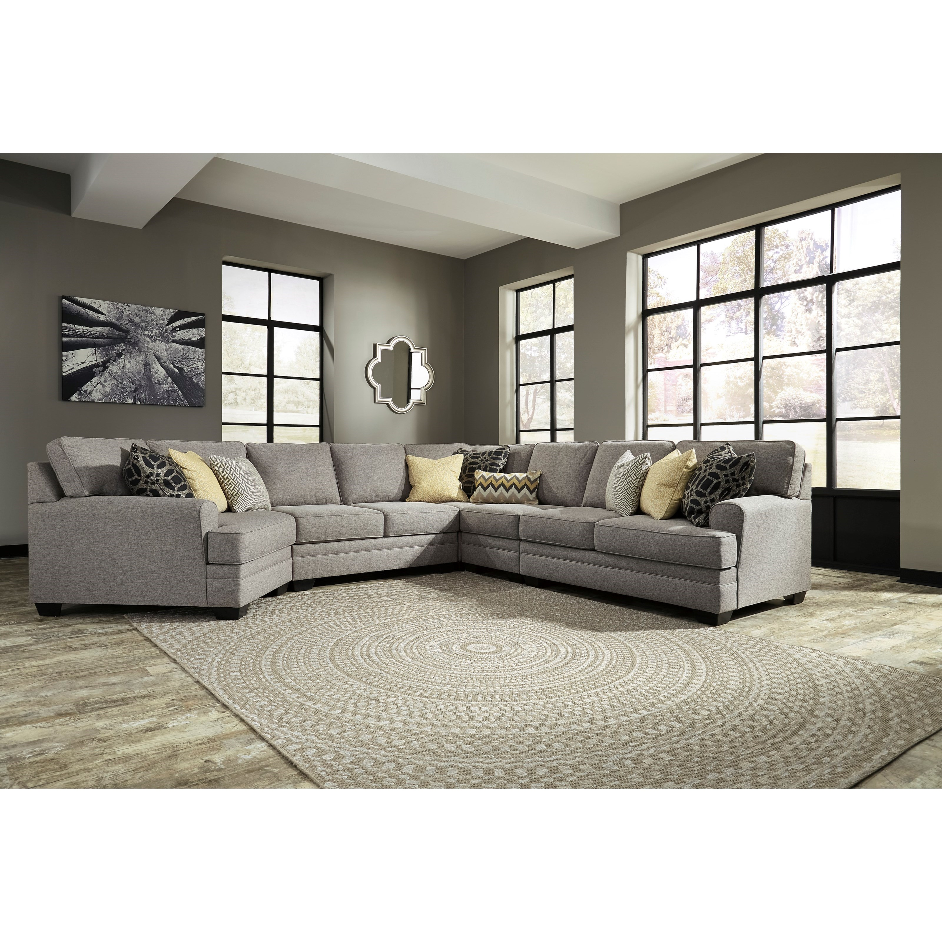 Contemporary 5-Piece Sectional with Cuddler by Benchcraft | Wolf ...