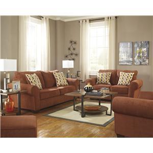 Benchcraft Deandre - Terra Cotta Stationary Living Room Group