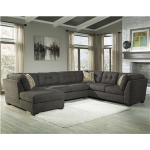 Ashley/Benchcraft Delta City - Steel 3-Piece Sectional w/ Sleeper & Left Chaise