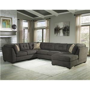 Ashley/Benchcraft Delta City - Steel 3-Piece Sectional w/ Sleeper & Right Chaise