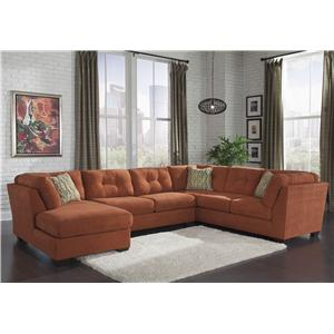 Ashley/Benchcraft Delta City - Rust 3-Piece Sectional w/ Sleeper & Left Chaise