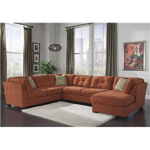 Ashley/Benchcraft Delta City - Rust 3-Piece Sectional w/ Sleeper & Right Chaise