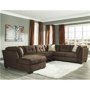 Ashley/Benchcraft Delta City - Chocolate 3-Piece Sectional w/ Sleeper & Left Chaise