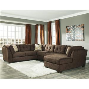 Ashley/Benchcraft Delta City - Chocolate 3-Piece Sectional w/ Sleeper & Right Chaise