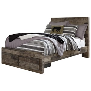 Rustic Modern Full Storage Bed with 2 Footboard Drawers