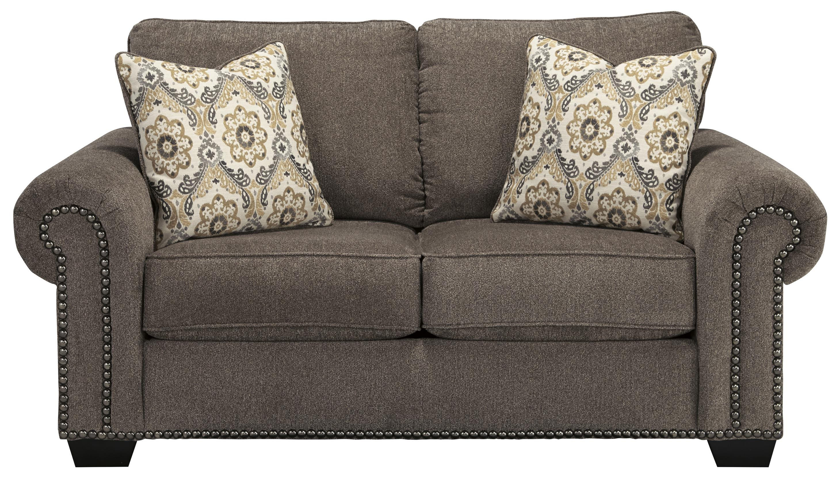 Transitional Loveseat With Nailhead Trim Amp Coil Seating By