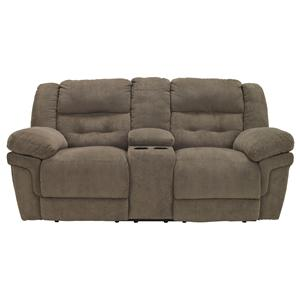 Benchcraft Family Time - Bark Double Reclining Loveseat w/ Console