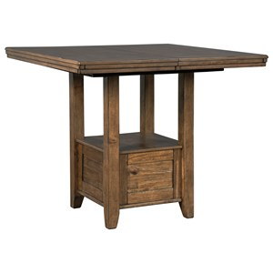 Rustic Casual Rectangular Extension Counter Table