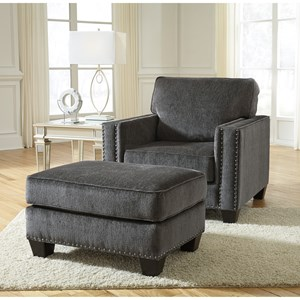 Contemporary Chair and Ottoman with Nailhead Trim