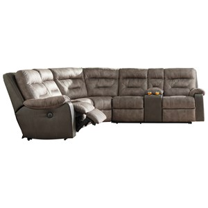 Two-Tone Reclining Sectional with Storage Console