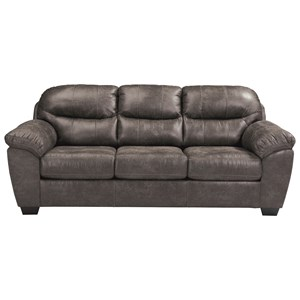 Gray Faux Leather Sofa with Coil Seat Cushions
