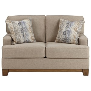 Contemporary Loveseat with Exposed Wood Front Rail