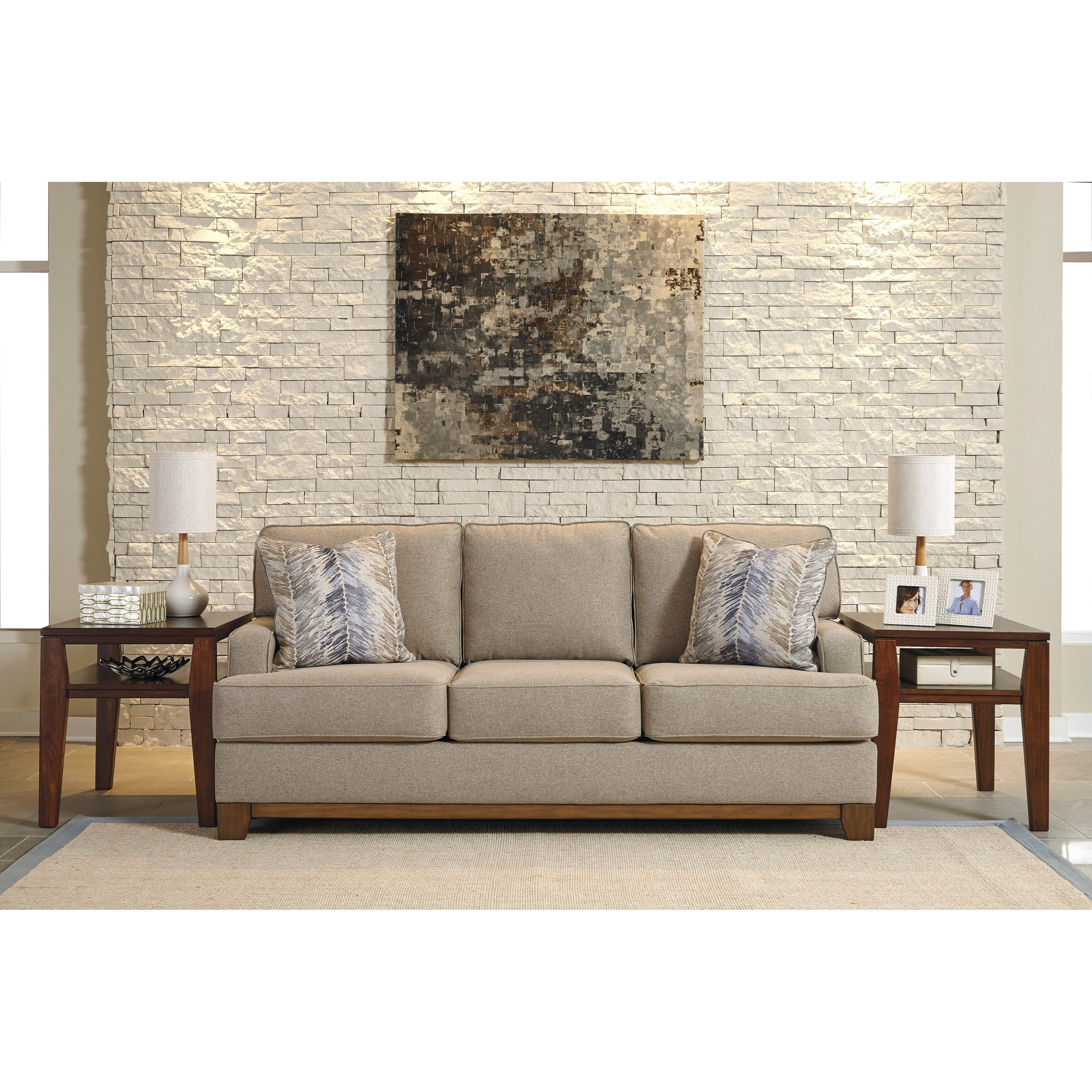 Contemporary sofa with exposed wood front rail by