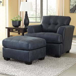 Faux Leather Chair & Ottoman